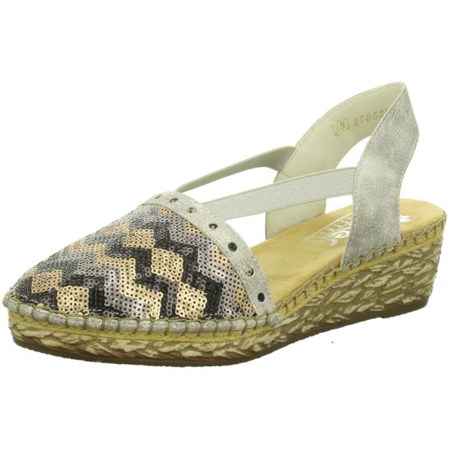 Rieker Sandale Espadrilles Sandalen Von 68978 Black beige altsilbe 92 8OPk0wn