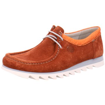 Sioux Mokassin Schnürschuh orange