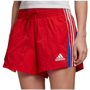 adidas kurze SporthosenColorblocked 3 Stripe Short Women rot