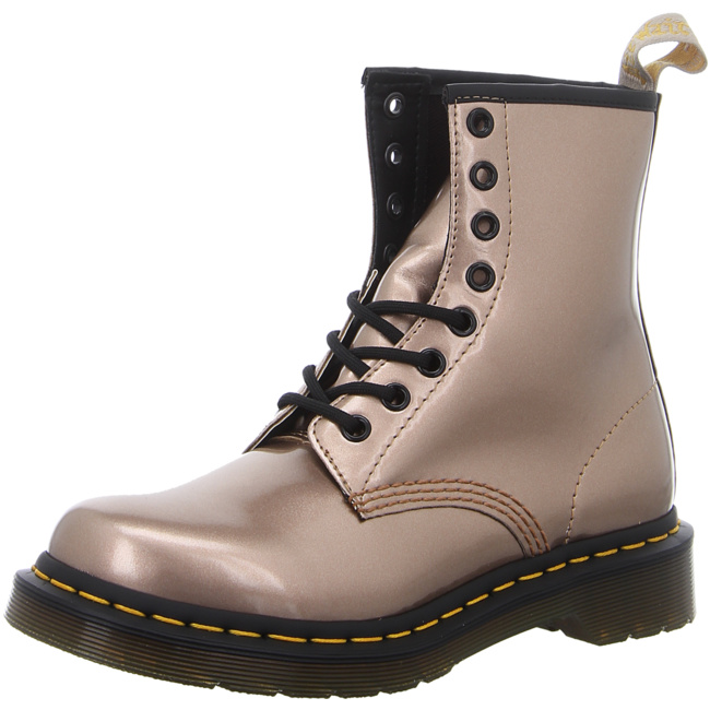 Details zu Dr. Martens Vegan 8 Eye Boot Chrome Damen Stiefelette gold Freizeit 24865716