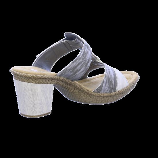 Rieker Damen 66520 Pantoletten, Weiß (IceStaub Silber 80